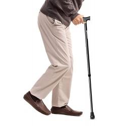 Entros Premium Height Adjustable Aluminum L-Shaped Walking Stick (Black)